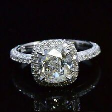 3.08 Ct Cushion Cut Diamond Engagement Ring Halo Micro Pave Setting F,VS1 GIA