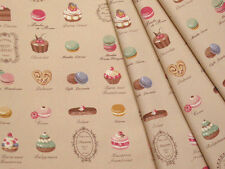 Yuwa Japanese Fabric / Cute Macaron Design Oxford Fabric Beige - 50cm x 110cm