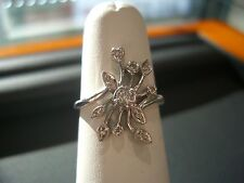 VINTAGE DIAMOND ESTATE RING BEAUTIFUL 0.15 CT DIA 14 KARAT WHITE GOLD SIZE 6-1/2