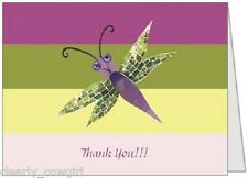 #7501 -- PURPLE DRAGONFLY THANK YOU FOLDED NOTECARDS SET - WOW!