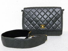 rk5104 Auth CHANEL Black Quilted Lambskin Leather CC Turn Lock Shoulder Bag