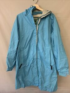 Women's L.L. Bean Large Long Baby Blue Zip Up Jacket 100% Nylon Gore-tex OAKN6