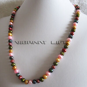 """22.5"""" 7-8mm Multi Color Freshwater Pearl Necklace M15B"""
