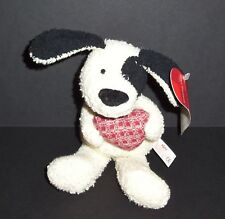 "7.5"" NEW Russ Heart Warmers Puppy Dog Cream Black Terry Stuffed Bean Bag Toy"