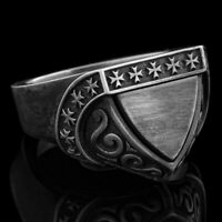 Mens Signet Ring Unique Sterling Silver Ring Shield Rings For Man Jewelry Gift