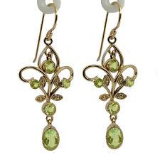 Genuine 9K Yellow Gold Natural Peridot Filigree Dangle Earrings Vintage style