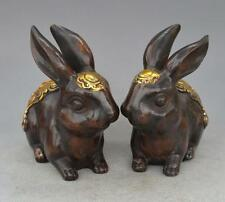 Collection of pure copper ornaments brass gilt rabbit pair