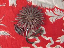 ancienne broche argent non poinconnee orientale fleur annees 70