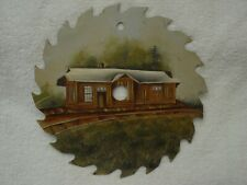 """Old RAILROAD DEPOT Train Station~SIGNED ADAMS Hand Painted 7"""" Circular Saw Blade"""