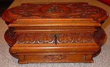 Ornately carved antique cherry wood jewelry box with hidden drawer-----15390