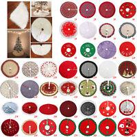 Christmas Tree Skirt Base Floor Mat Cover Xmas Party Home Decoration Plush 90cm