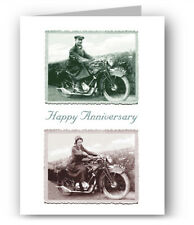 Vintage Motorcycle Anniversary Card - Motorbike P&M Panther Colourful Past