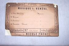 Musique De Geneve 4 Airs Nicole Freres Music Cylinder Music Box Tune Chart