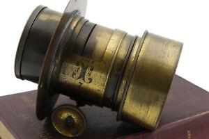 "Vintage Brass JS F3.8 6.5"" (165mm) Petzval lens 4x5 speed graphic"