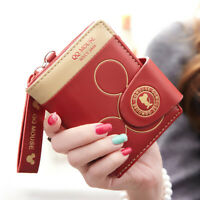 Women Lady ECO Leather Cute Small Mickey Mouse Wallet Cartoon Card Holder NEW