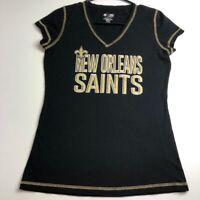 NFL New Orleans Saints Football Women's Short Sleeve T Shirt Small S Black Gold