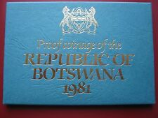 Botswana 1981 7 coin set Thebe - Pula cased Proof Royal Mint envelope info card