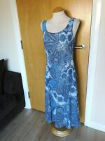 Ladies PER UNA Dress Size 12 Long Tall Blue Paisley Smart Party Wedding