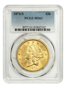 1874-S $20 PCGS MS61 - Liberty Double Eagle - Gold Coin
