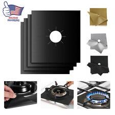 4Pcs Reusable Foil Square Gas Burner Disposable Bib Liners Top Stove Covers Mat