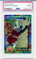 1993-94 Topps Finest MICHAEL JORDAN NBA Card #1 Low Pop Rare Graded MINT PSA 9!