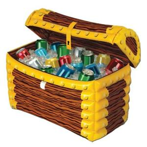 """24"""" INFLATABLE PIRATE TREASURE CHEST COOLER HALLOWEEN PARTY DECORATION BG50988"""