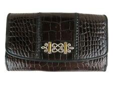Brighton Leather Wallet Crocodile Design Silver Metal Snap Closure Card Holder