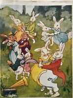 "DANCING BUNNIES - VINTAGE LINEN PRINT FROM 1921 BOOK ""BRASS BAND OF BUNNYLAND"""