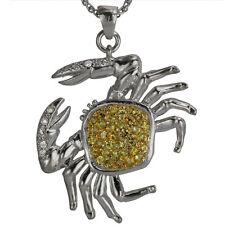 Crab Necklace Yellow Sapphire Diamonds Fish Necklace Diamond Necklace 14k Gold