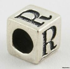 """Letter """"R"""" Charm Block Bead Sterling Silver 925 Initial Jewelry Making Crafting"""