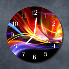 Glass Wall Clock Kitchen Clocks 30 cm round silent Abstract Art Multi-Coloured