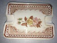 Vintage 1920s 1930s Antique Ceramic Floral Ashtray Marked with Blue JAPAN Label