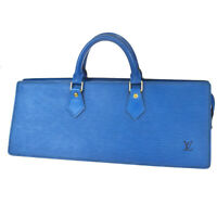 Authentic LOUIS VUITTON Sac Triangle Hand Bag Epi Leather Blue M52095 31MF201