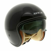 Spada Raze Motorcycle Motorbike Open Face Sun Visor Helmet - Gloss Black