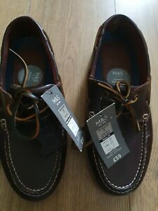 M&S Dark Brown Lace Up Real Leather Loafers Size 7