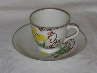 Yellow flower vintage Art Deco Japanese oriental lithoplane cup saucer duo