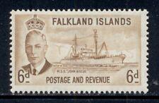 FALKLAND ISLANDS 113 SG178 MH 1952 6p KGVI Ship John Biscoe Cat$12