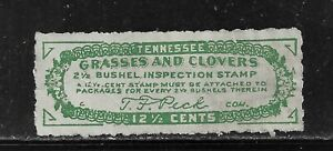HICK GIRL-USED U.S. STATE REVENUE  12 1/2 c TENNESSEE GRASS & CLOVER TAX   O1427