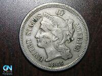 1865 3 Cent Nickel Piece    BETTER GRADE!  NICE TYPE COIN!  #B6586