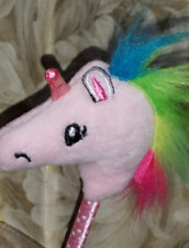 NEW Rainbow mane Shiny horn Pink Unicorn Plush black ink Pen!