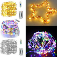 USB Twinkle LED String Fairy Lights 5/10M 50/100/200LED Copper Wire Party Remote