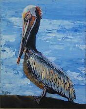 "Original Acrylic Oceanside Pelican signed RAMFISH Artist on Wood Panel 11 x 14"""