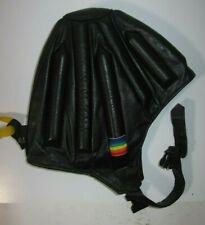 Vintage Black Leather Skydiving Helmet Frap Hat XL