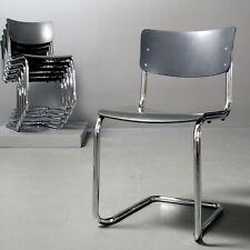 4x (Set) Thonet Stuhl S 43, Stahlrohr Bauhaus grau lasiert Mart Stam 1931