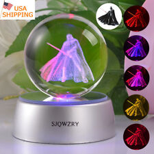 Star Wars Darth Vader 3D Crystal Ball LED Night Light Table Desk Lamp Decor Gift