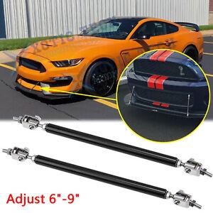 """For Ford Mustang Adjust 6""""-9"""" Black Strut Rod Front Bumper spoiler Lip Tie Bars"""