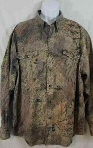 Men's Mossy Oak Brush hunting camo shirt size 2XL field camo vented back pockets