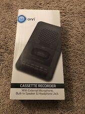 ONN Cassette Recorder & Player, Built-In Speaker, External Mic & Blank Tape, New
