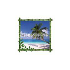 Sticker trompe l'oeil déco Bambou Palmier 100x100cm B149034AB32B