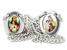 Scapular Our Lady Mt. Carmel Sacred Heart Jesus Chain Necklace, Stainless Steel